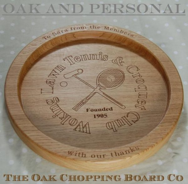 Personalised wooden fruit bowl, size 38cm diameter, with custom logo design