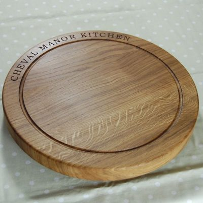 Personalised lazy susan with base, size 42.5cm dia x 4cm, font Bookman Old Style