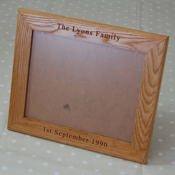Engraved photo frame for 10x8in photo or, with mount, 7x5in photo