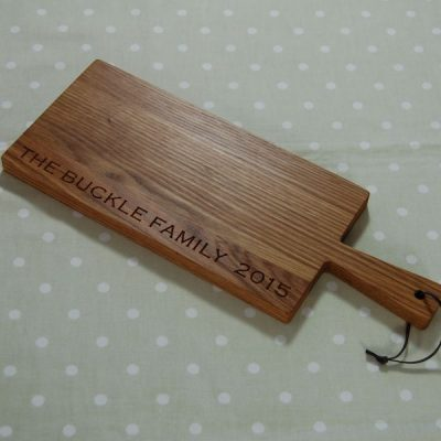 Personalised wooden paddle serving board, font Copperplate Gothic Light