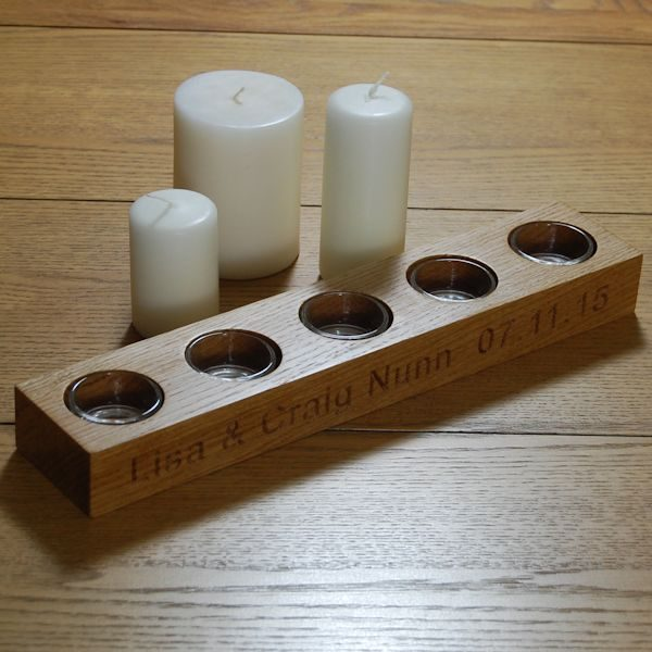 Personalised wooden tea light holder, font Arial