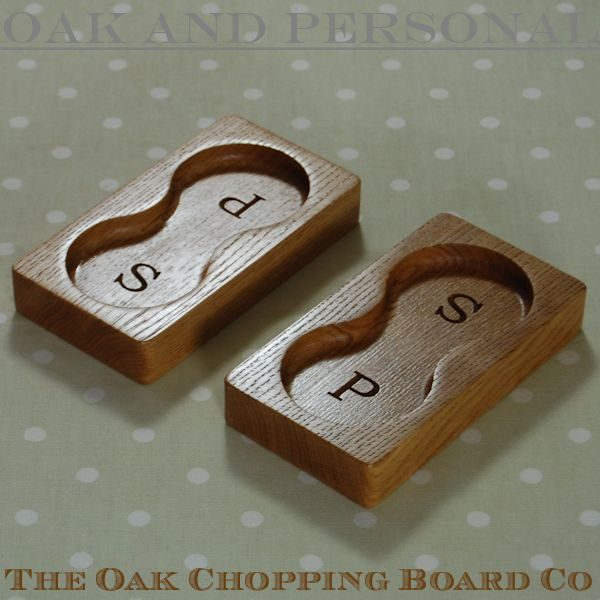 Personalised engraved wooden salt and pepper stands