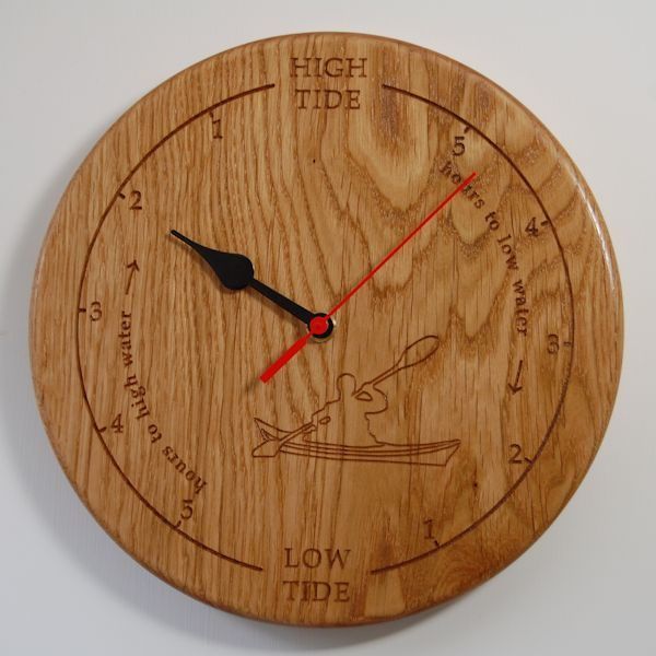 Personalised oak tide clock with 2D kayak motif