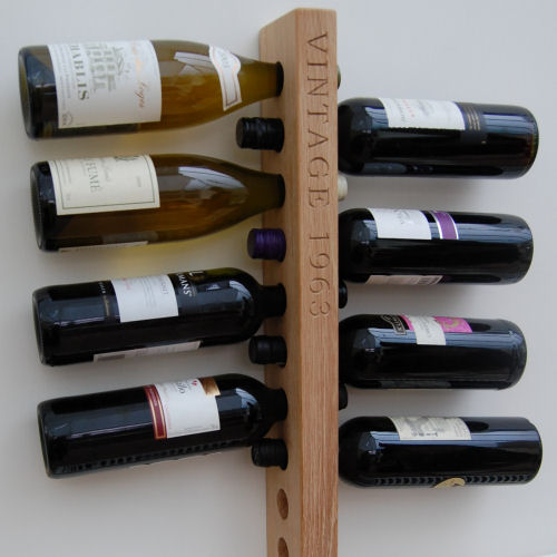 Wall-mounted personalised wooden wine rack, font Bookman Old Style