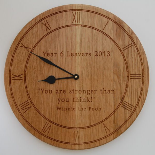 Personalised oak wall clock, size 38cm diameter, font Byington