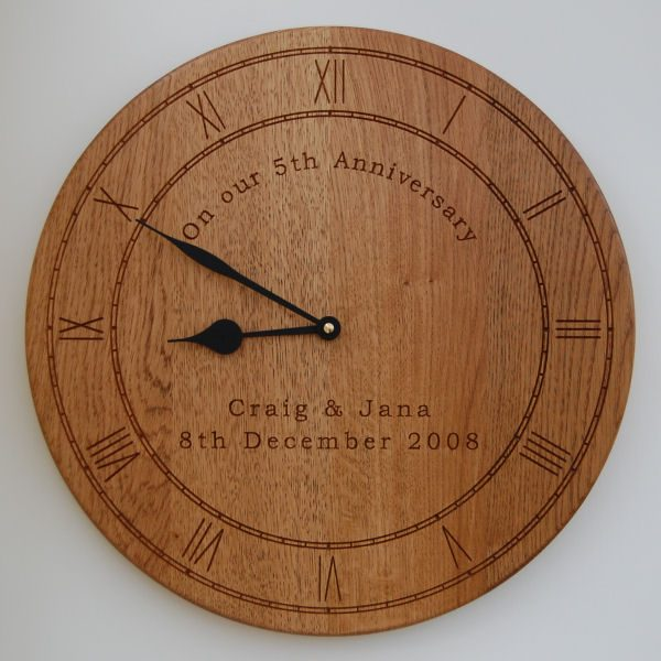 Personalised oak wall clock, size 38cm diameter, font Bookman Old Style