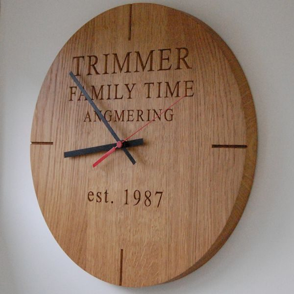 Personalised modern wall clock, font Times New Roman