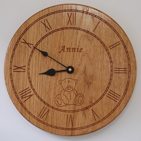 Personalised oak wall clock, size 30cm diameter, font Art Script, with Teddy Bear motif