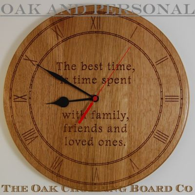 Personalised wooden wall clock, size 38cm diameter, font Footlight MT