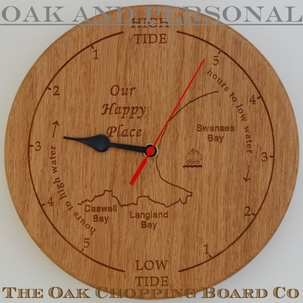 Personalised wooden tide clock with custom map engraved detail