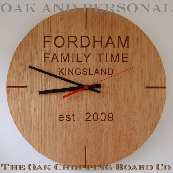 Personalised wooden wall clock, font Arial