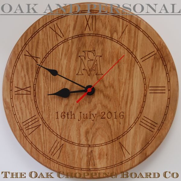 Personalised wooden wall clock, size 30cm diameter, font Footlight MT