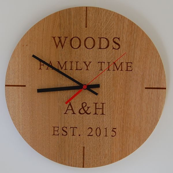 Personalised oak wall clock, font Times New Roman