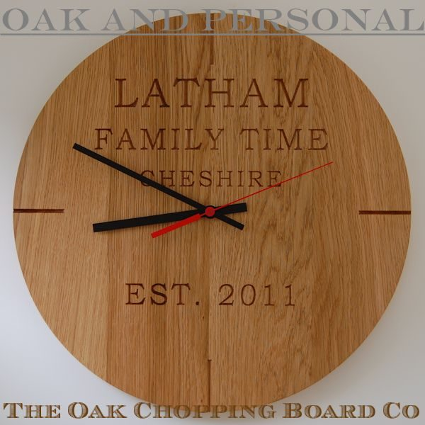 Personalised modern wall clock, font Bookman Old Style