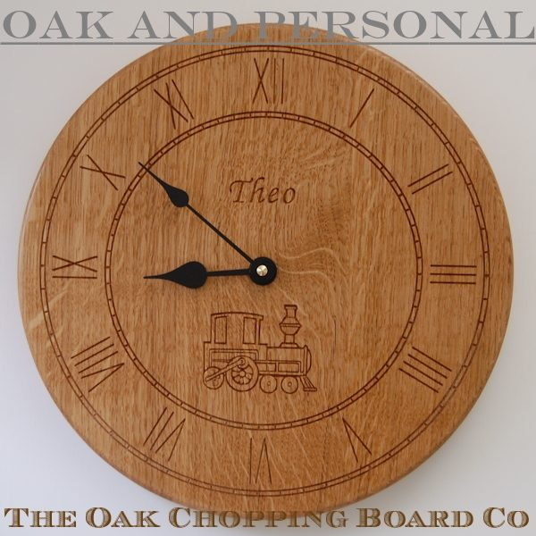 Personalised oak wall clock, size 30cm diameter, font Art Script, with Train motif