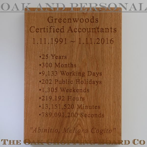 Personalised wooden wall plaque, size 25x35x4cm, font Times New Roman