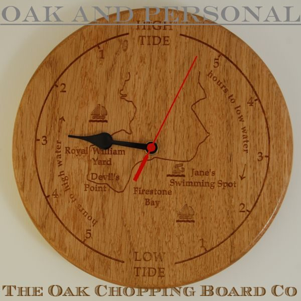 Personalised wooden tide clock with custom map engraving