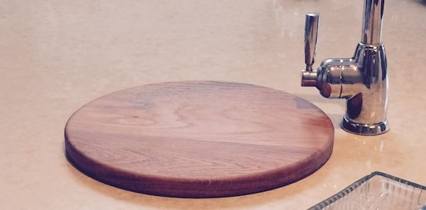 Circular sink top chopping board now in the customer's kitchen