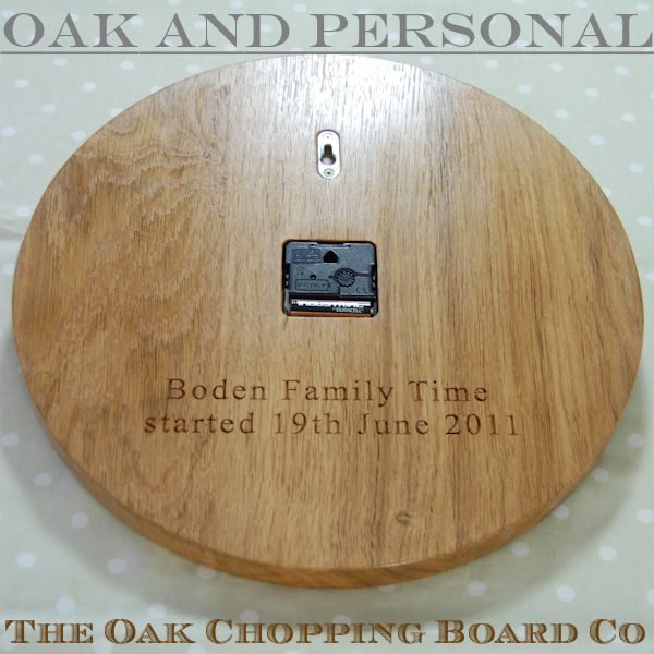 Personalised wooden wall clock with message engraved on the back