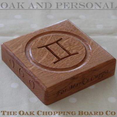 Personalised wooden birthday coaster - Gemini