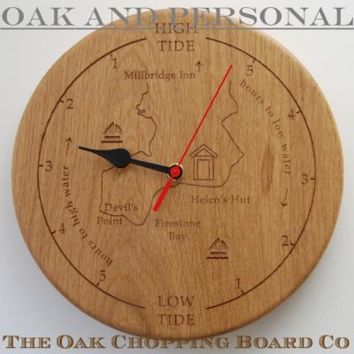 Personalised wooden tide clock with custom map and motifs