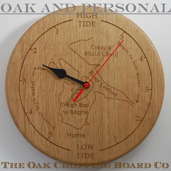 Personalised wooden tide clock with custom map