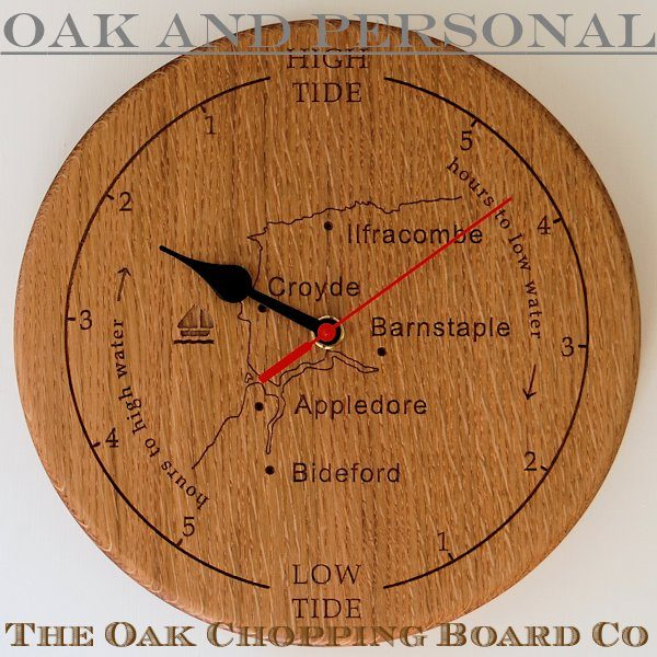 Personalised wooden tide clock with custom map of Devon and motif