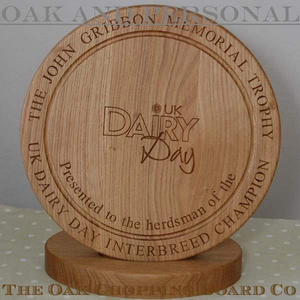 Engraved wooden trophy complete with base